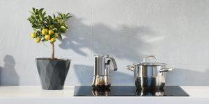 a moka pot, a saucepan, and a plant pot
