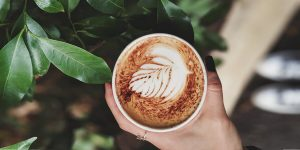Beautiful cup of cappuccino coffee