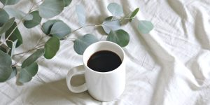 black coffee on a white cup