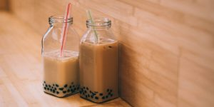 bubble tea in glass jars with straws