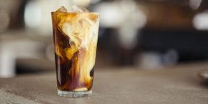 cold brew coffee with milk and ice