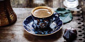 Turkish Coffee on a blue saucer
