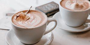 Coffee latte art on a white mug