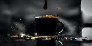 Black coffee on a black mug