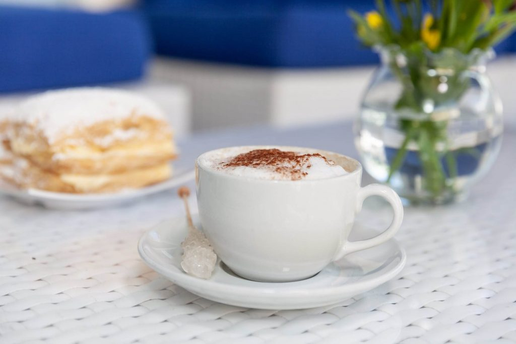 cup of cappuccino on a saucer