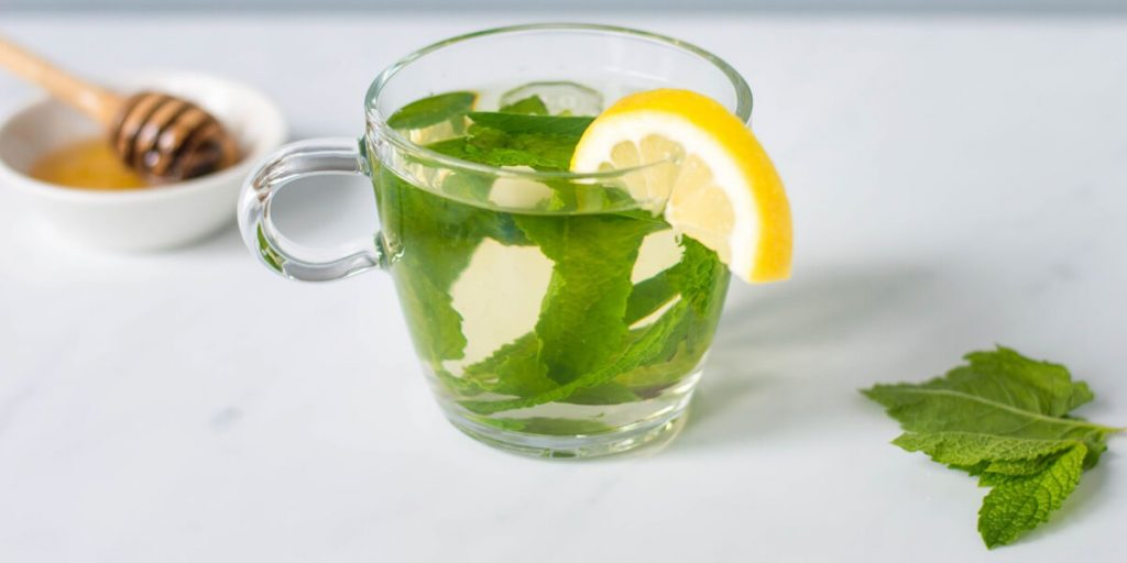 fresh mint tea with lemon and honey
