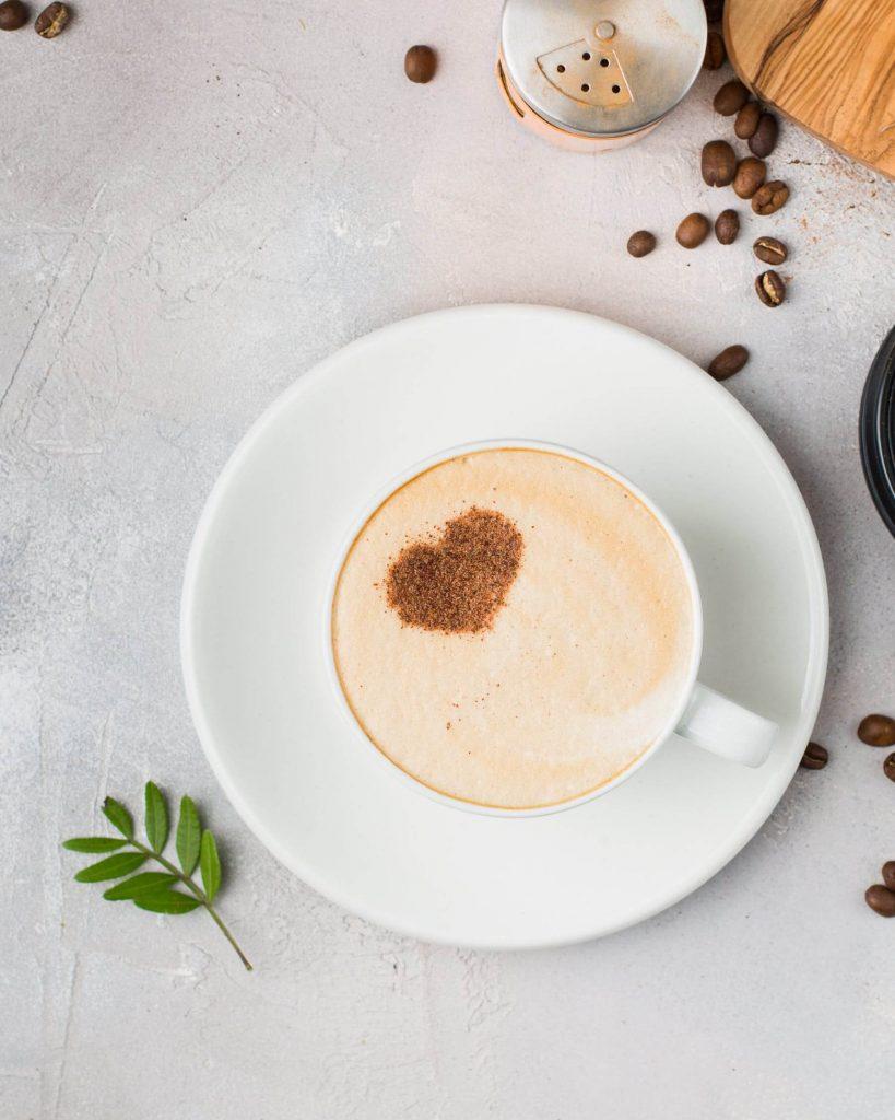 Coffee milk with a heart shape