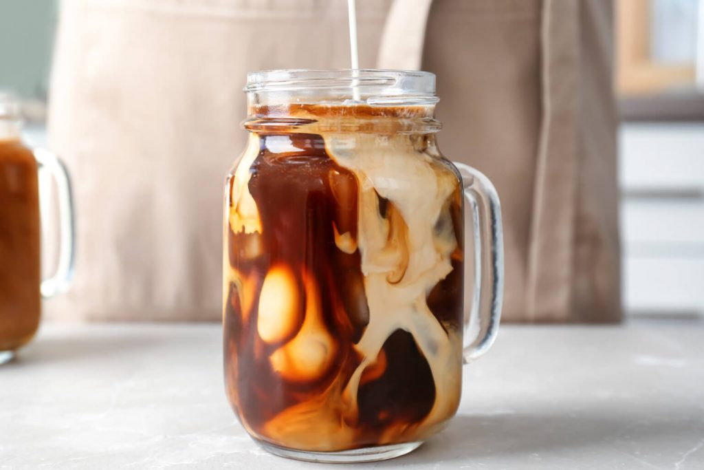 Iced coffee drink with milk