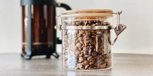 glass coffee beans storage jar