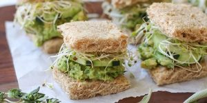 mashed avocado sandwiches with cucumber and sprouts