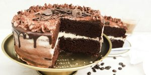 A chocolate cake with marshmallow cream