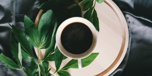 Cup of coffee and green leaves