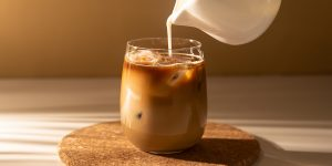 A coffee poured with milk